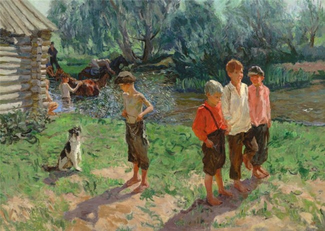 А. А. Пластов «Тройка. Ребятишки у речки» - описание картины