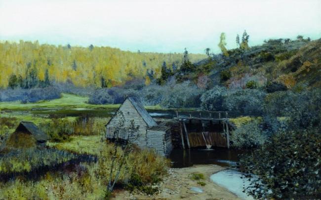 И. И. Левитан «Осень. Мельница. Плес» - описание картины