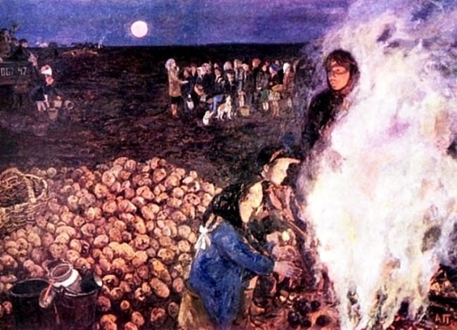 Пластов «Костер в поле» - описание картины