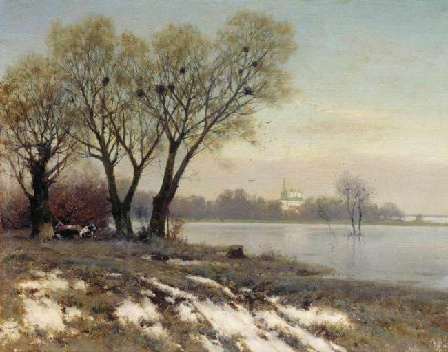 """Сочинение по картине: Крыжицкий - """"Ранняя весна"""""""