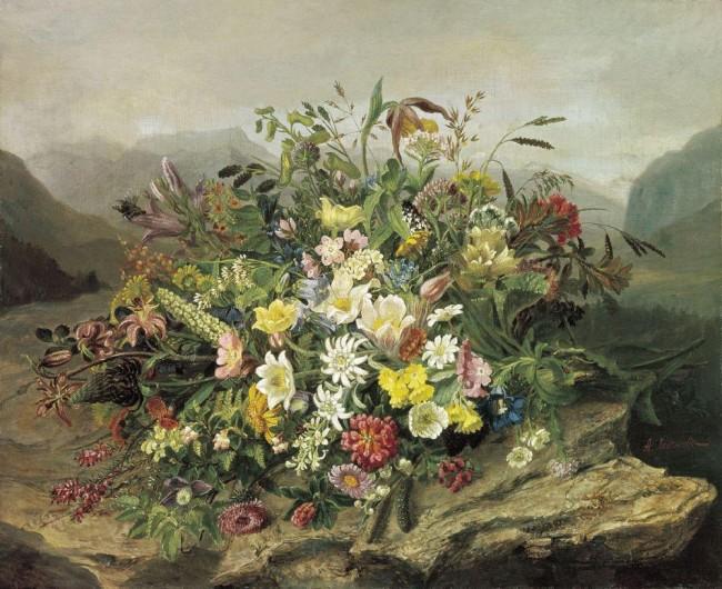 """Сочинение по картине: Легашов - """"Букет цветов на фоне горного пейзажа"""""""