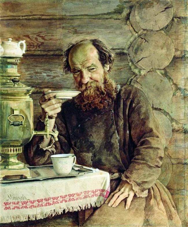 "Сочинение по картине: Морозов - ""За чаепитием"""