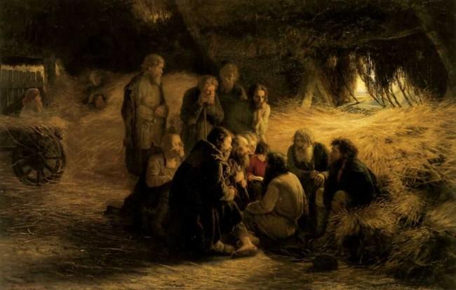 """Сочинение по картине: Мясоедов - """"Чтение Положения 19 февраля 1861 года"""""""