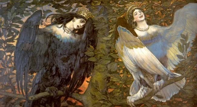 """Сочинение по картине: Васнецов - """"Сирин и Алконост. Песнь радости и печали"""""""