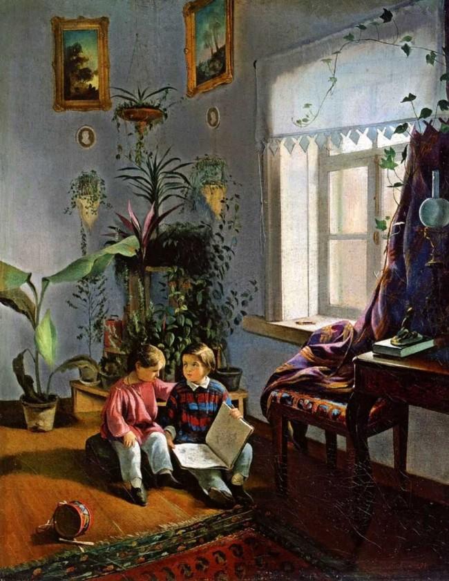 """Сочинение по картине: Хруцкий - """"В комнате (мальчики, рассматривающие альбом с картинками)"""""""