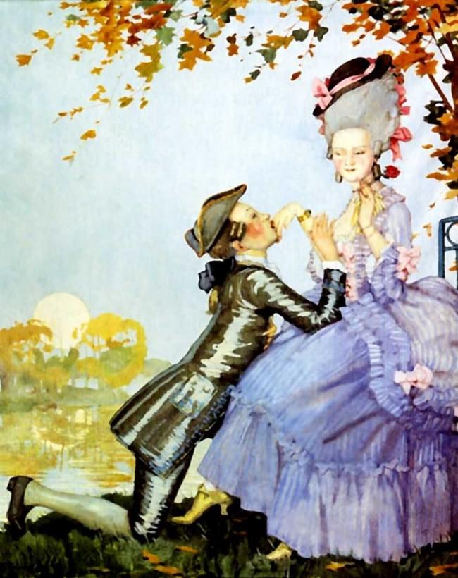 """Сочинение по картине: Сомов - """"Юноша на коленях перед дамой"""""""