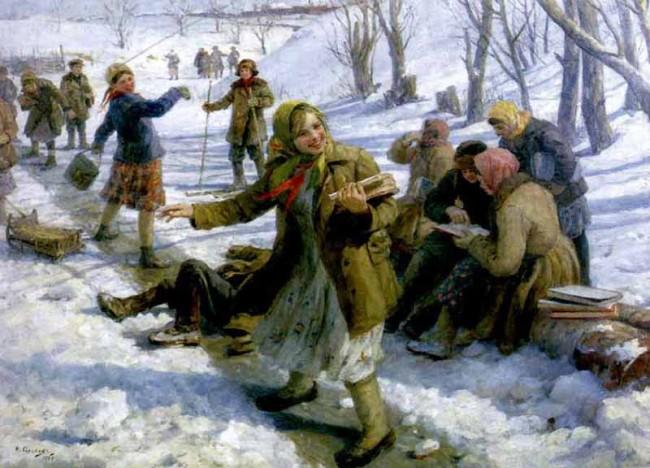 """Сочинение по картине: Сычков - """"Возвращение из школы"""""""