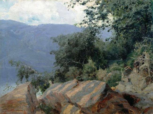 """Сочинение по картине: Ярцев - """"Пейзаж. Полосатые камни"""""""