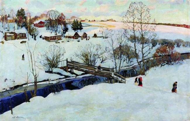 """Сочинение по картине: Юон - """"Зима. Мостик"""""""